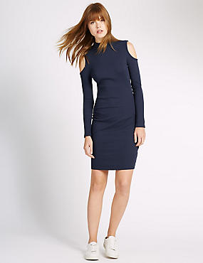Slim Fit Cotton Rich Bodycon Dress
