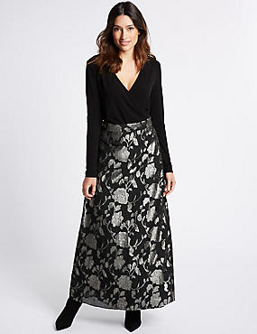 Jacquard Wrap Flock Maxi Dress