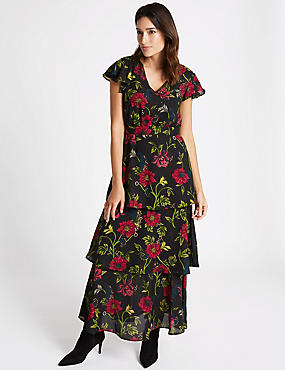Embellished Floral Print Tiered Maxi Dress