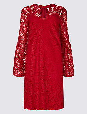 Floral Lace Flute Sleeve Shift Dress
