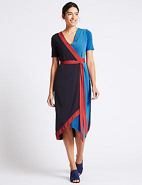 Colour Block Short Sleeve Wrap Midi Dress