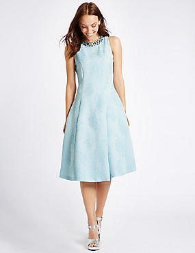 Textured Jewel Neck Prom Skater Dress