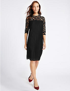 Lace Pleated 3/4 Sleeve Tunic Midi Dress