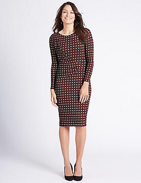 Geometric Print Bodycon Midi Dress, BLACK MIX, catlanding