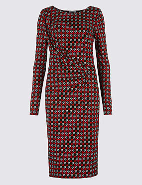 Geometric Print Bodycon Midi Dress