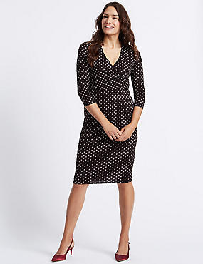 Spotted 3/4 Sleeve Wrap Midi Dress