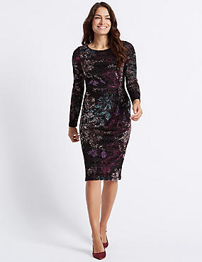 Printed Long Sleeve Bodycon Midi Dress