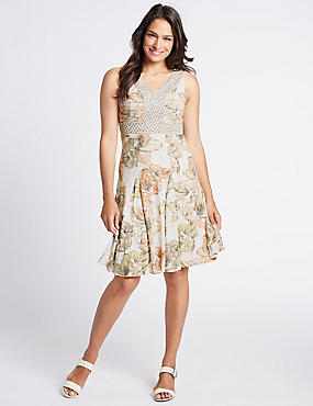 Burnout Floral Print Shift Midi Dress