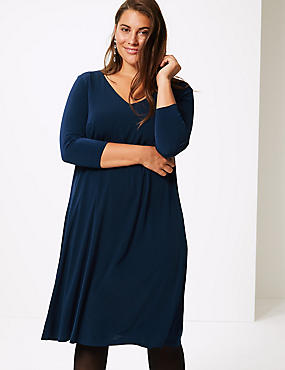 CURVE 3/4 Sleeve Swing Dress , NAVY, catlanding