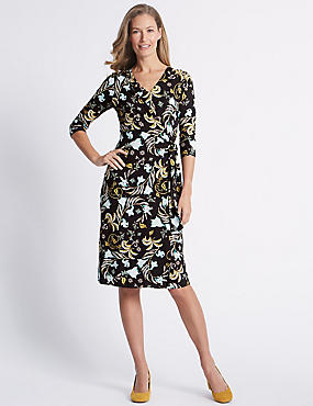 Printed Knot Front Half Sleeve Dress, BLACK MIX, catlanding