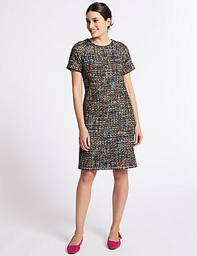 Sparkle Tweed Short Sleeve Shift Dress, MULTI, catlanding
