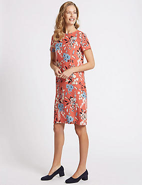 Floral Print Short Sleeve Tunic Dress