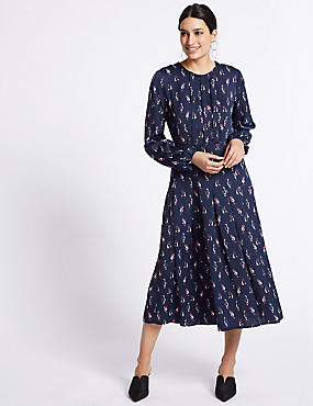 Satin Cat Print Long Sleeve Swing Dress