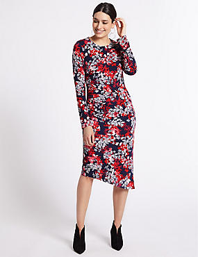 Floral Print Long Sleeve Bodycon Midi Dress, PINK MIX, catlanding