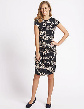Floral Print Short Sleeve Drape Dress