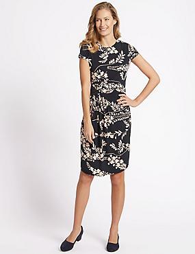 Floral Print Short Sleeve Drape Dress, BLACK MIX, catlanding