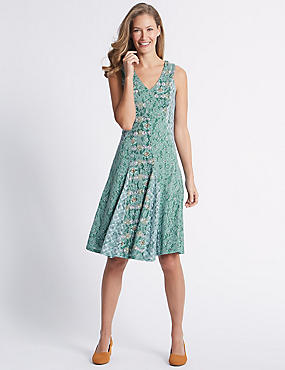 Spliced Burnout Print Dress, MINT MIX, catlanding
