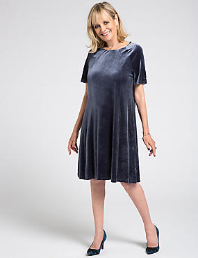 Velvet Short Sleeve Shift Midi Dress