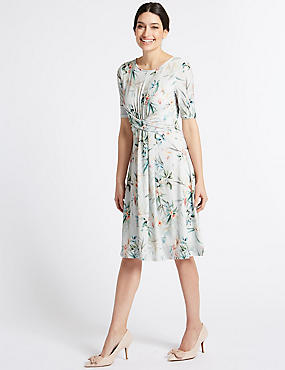 Floral Print Twisted Detail Swing Dress , GREY MIX, catlanding