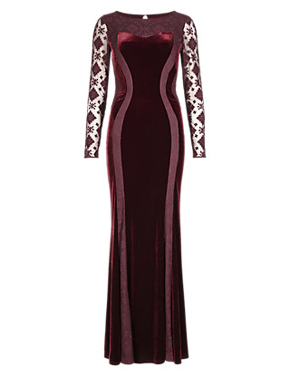 Embroidered Mesh & Velour Panelled Bodycon Maxi Dress Clothing