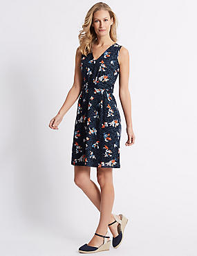 Burnout Print Sleeveless Skater Dress, NAVY MIX, catlanding
