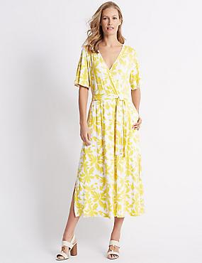 Floral Print Half Sleeve Wrap Midi Dress, YELLOW MIX, catlanding