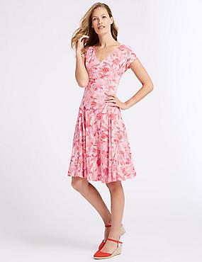 Cotton Blend Floral Print Swing Midi Dress, PINK MIX, catlanding