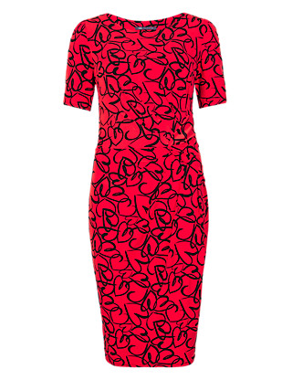 Twisted Front Heart Print Shift Dress Clothing