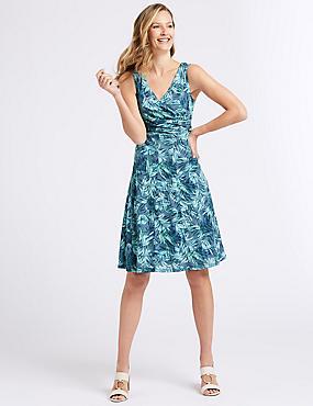 Cotton Blend Burnout Print Dress, BLUE MIX, catlanding