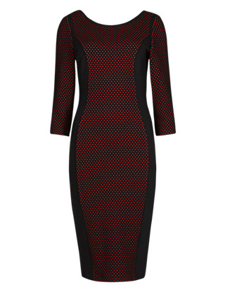 Drop a Dress Size Spotted Jacquard Bodycon Dress with Secret Support™ Clothing