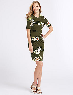 Floral Print Jersey Bodycon Dress, DARK GREEN MIX, catlanding