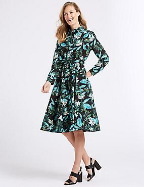 Cotton Blend Floral Print Shirt Midi Dress , BLACK MIX, catlanding