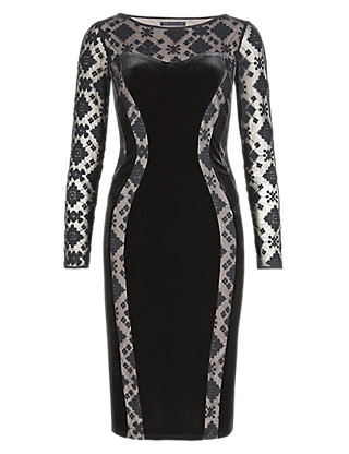 Embroidered Mesh & Velour Panelled Bodycon Shift Dress Clothing