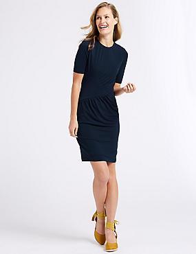 Drape Jersey Half Sleeve Bodycon Dress , DARK BLUE, catlanding