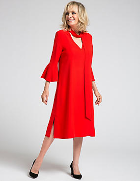 Flute Sleeve Tie Neck Tunic Midi Dress