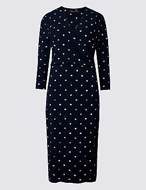 Spotted Jersey 3/4 Sleeve Bodycon Dress  , NAVY MIX, catlanding