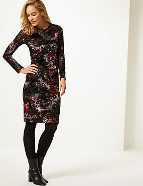 Floral Print Long Sleeve Bodycon Dress , BLACK MIX, catlanding