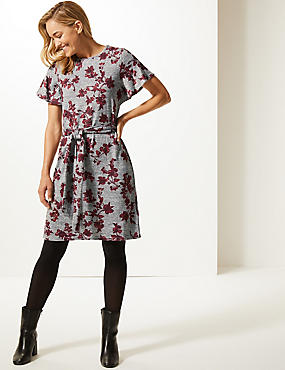 Floral Print Round Neck Tunic Dress , GREY MIX, catlanding