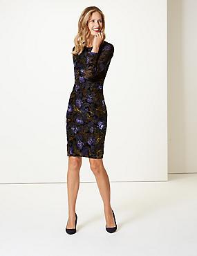 Floral Print Bodycon Midi Dress , BLACK MIX, catlanding