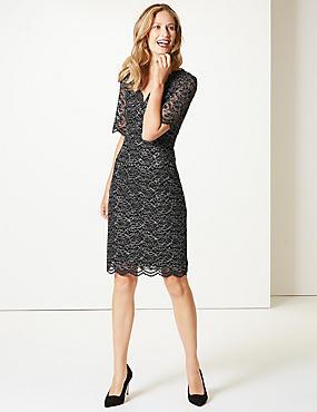 Half Sleeve Shift Dress, BLACK, catlanding