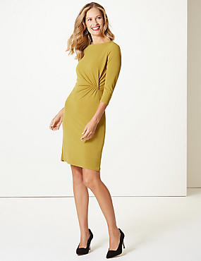 Twisted Drape 3/4 Sleeve Shift Dress , WINTER LIME, catlanding