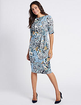 Ruched Paisley Print Shift Midi Dress