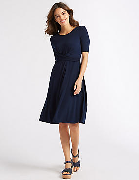 Twisted Detail Short Sleeve Swing Dress , INDIGO, catlanding