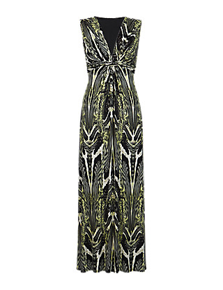 PETITE Twisted Front Animal Print Maxi Dress Clothing