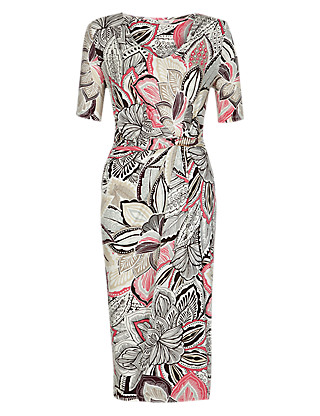 Twisted Waist Leaf Print Dress Clothing