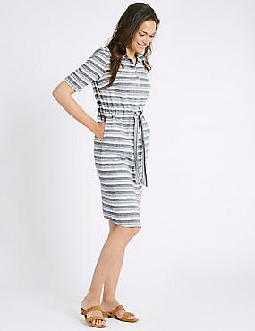 Cotton Rich Striped Tie Detail Shirt Dress