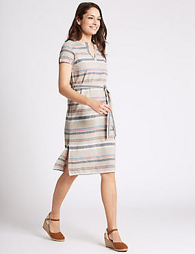 Cotton Rich Striped Shift Dress with Belt