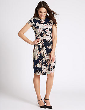 Floral Print Drape Waist Shift Dress