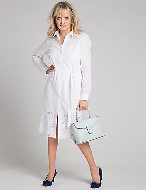 Pure Cotton Cutwork Shirt Dress with Belt
