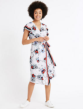 Floral Print Wrap Shift Midi Dress